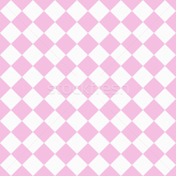 Pale Pink and White Diagonal Checkers on Textured Fabric Backgro Stock photo © karenr