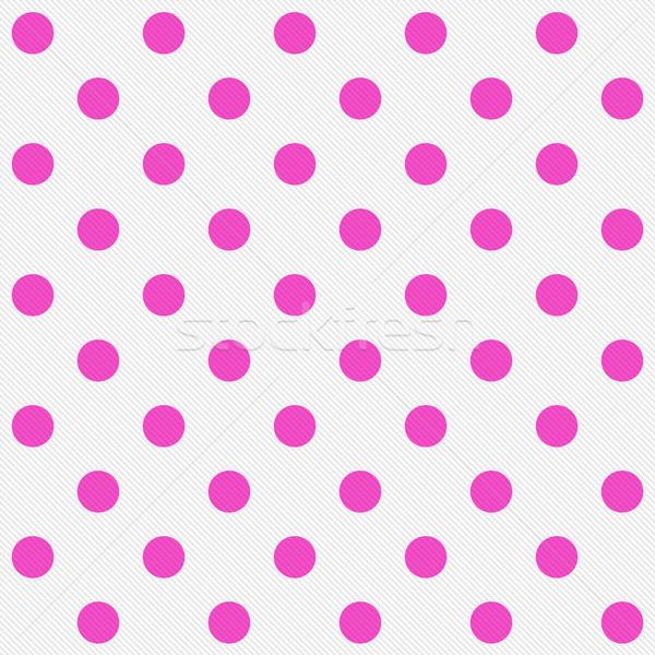 Fényes rózsaszín pöttyös fehér mintázott szövet Stock fotó © karenr