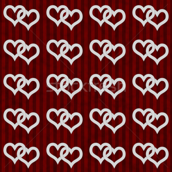 White Interwoven Hearts and Red Stripes Textured Fabric Backgrou Stock photo © karenr