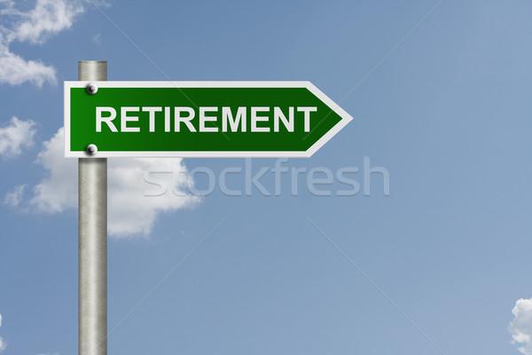 Andare in pensione americano cartello stradale cielo copia spazio messaggio Foto d'archivio © karenr