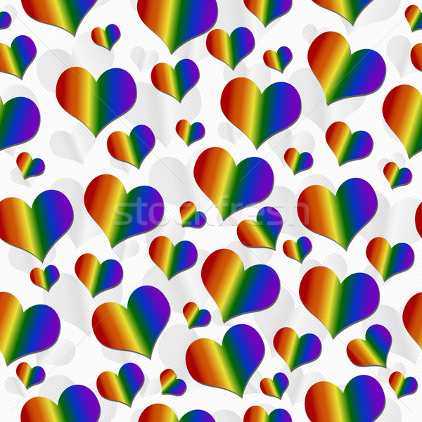 LGBT Pride Colored Hearts over White Tile Pattern Repeat Backgro Stock photo © karenr