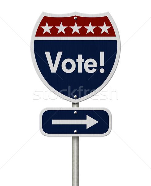 американский голосования шоссе дорожный знак красный белый Сток-фото © karenr
