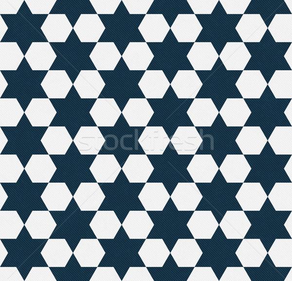 Donkere Blauw witte zeshoek weefsel Stockfoto © karenr