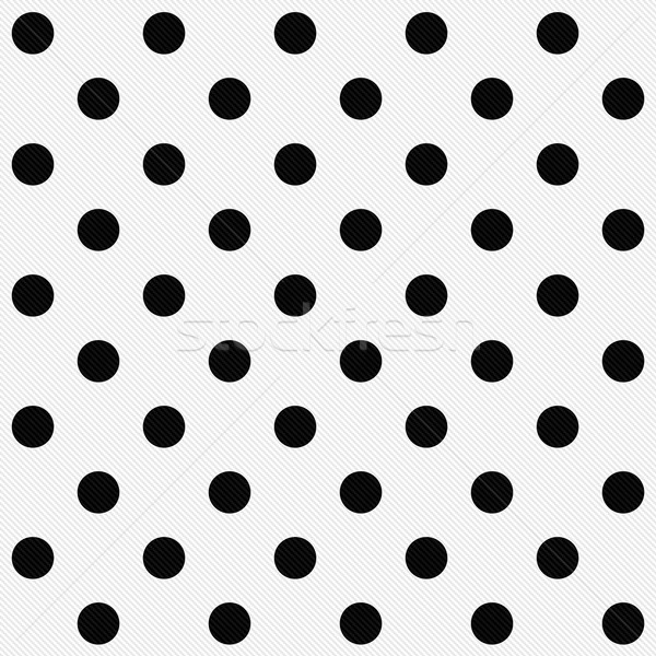 Black Polka Dots on White Textured Fabric Background Stock photo © karenr