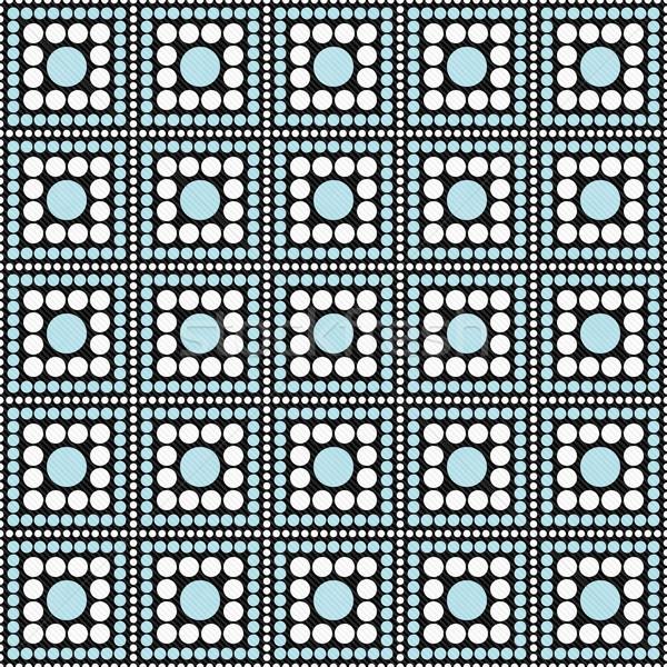 Blue, Black and White Polka Dot Square Abstract Design Tile Patt Stock photo © karenr