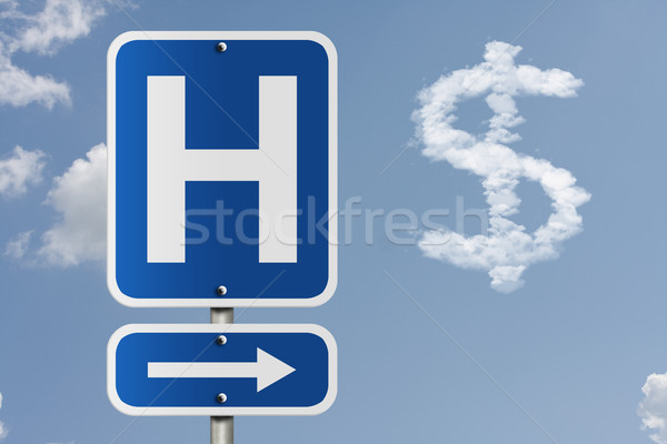 Kosten ziekenhuis amerikaanse verkeersbord hemel pijl Stockfoto © karenr