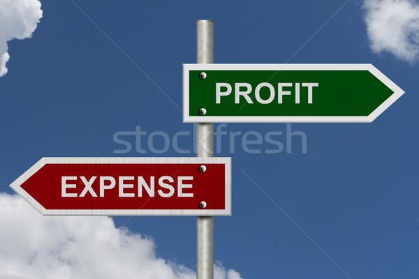Zysk koszt czerwony zielone ulicy znaki Zdjęcia stock © karenr