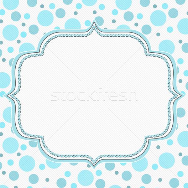 Blauw witte frame borduurwerk steken Stockfoto © karenr