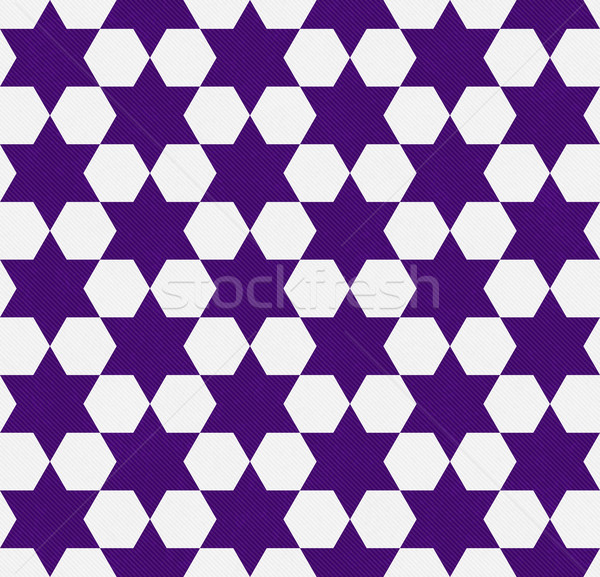Dark Purple and White Hexagon Patterned Textured Fabric Backgrou Stock photo © karenr