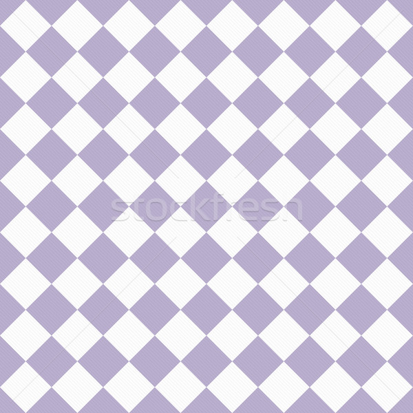 Pale Purple and White Diagonal Checkers on Textured Fabric Backg Stock photo © karenr