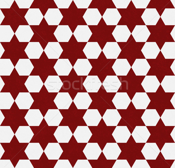 Red and White Hexagon Patterned Textured Fabric Background Stock photo © karenr