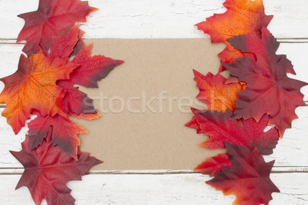 карт осень сообщение пустую карту коричневый древесины Сток-фото © karenr