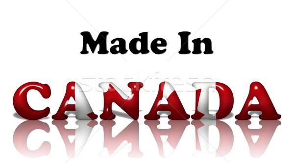 Kanada sözler kanada bayrağı renkler yalıtılmış beyaz Stok fotoğraf © karenr