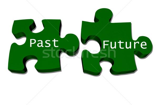 прошлое соответствовать будущем зеленый головоломки слов Сток-фото © karenr