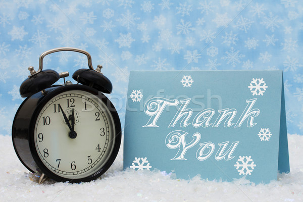 Karácsony idő hálás ébresztőóra köszönjük kék Stock fotó © karenr