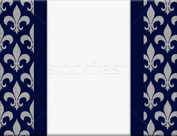 Blue and Gray Fleur De Lis Textured Background Stock photo © karenr