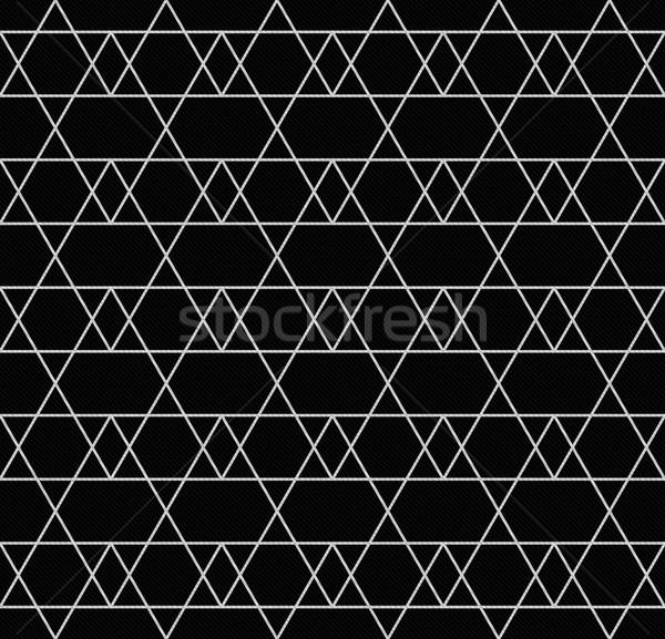Feketefehér vonal cikcakk mintázott szövet végtelenített Stock fotó © karenr