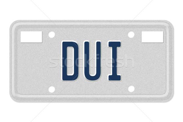 слово синий номерной знак изолированный белый Сток-фото © karenr