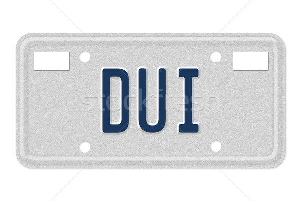 Woord Blauw kentekenplaat geïsoleerd witte Stockfoto © karenr