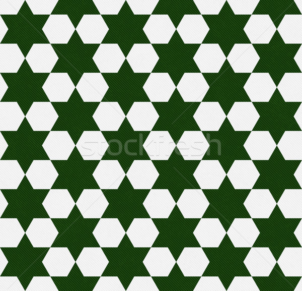 Dark Green and White Hexagon Patterned Textured Fabric Backgroun Stock photo © karenr