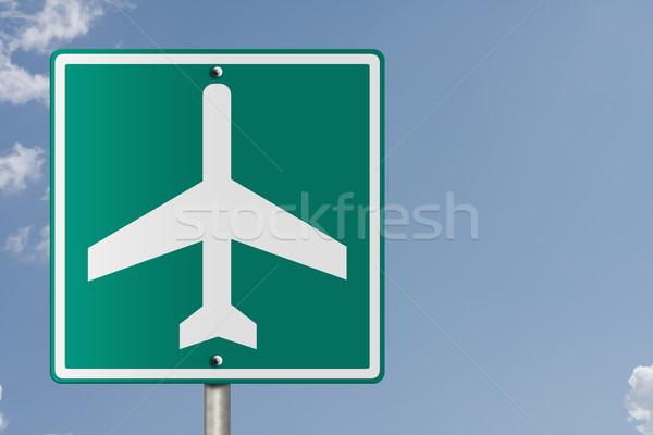 Aeroporto assinar americano placa sinalizadora céu avião Foto stock © karenr