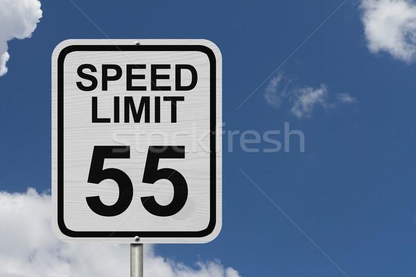 ограничение скорости знак белый американский дорожный знак слов Сток-фото © karenr