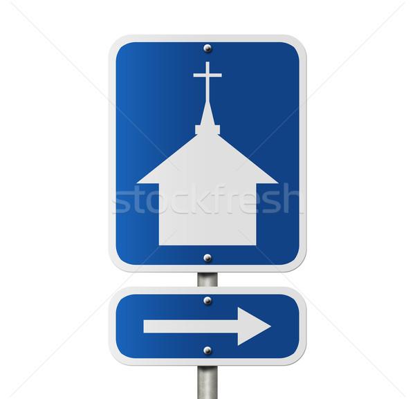 Церкви американский дорожный знак изолированный белый Сток-фото © karenr