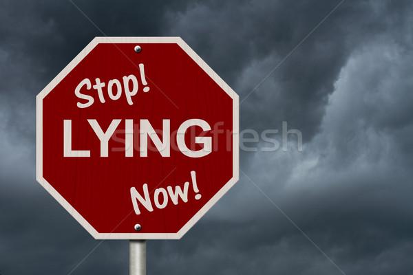 Stop Lying Now Sign Stock photo © karenr