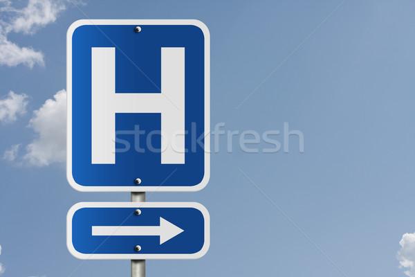 Hospital direção assinar americano placa sinalizadora céu Foto stock © karenr