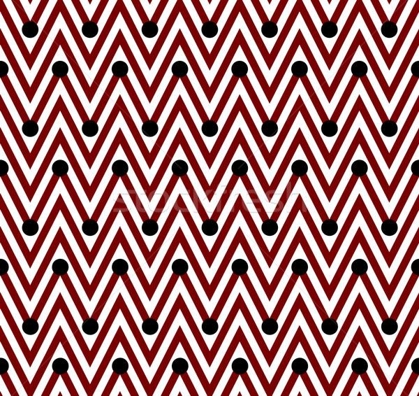 ストックフォト: 赤 · 白 · 水平な · 縞模様の · 水玉模様 · シームレス