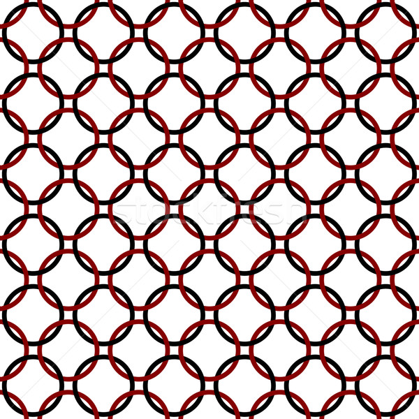 Black, Red and White Interlaced Circles Textured Fabric Backgrou Stock photo © karenr