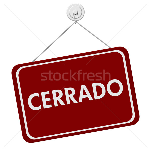 Cerrado signo rojo blanco palabra aislado Foto stock © karenr