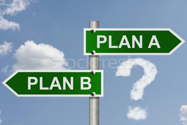 Plan b amerikan yol işaretleri sözler plan gökyüzü Stok fotoğraf © karenr