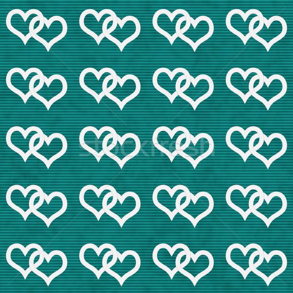 White Interwoven Hearts and Teal Thin Stripes Horizontal Texture Stock photo © karenr