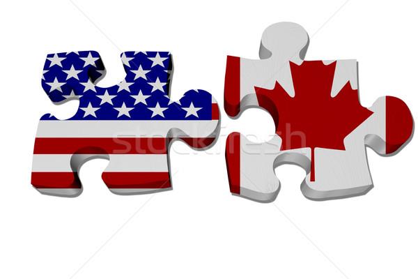 рабочих Канада головоломки флаг Канадский флаг изолированный Сток-фото © karenr
