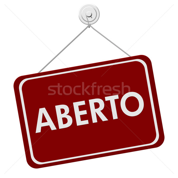 Rood witte teken woord Open Stockfoto © karenr