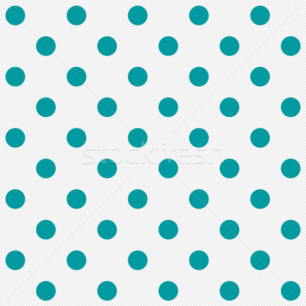 Bright Teal Polka Dots on White Textured Fabric Background Stock photo © karenr