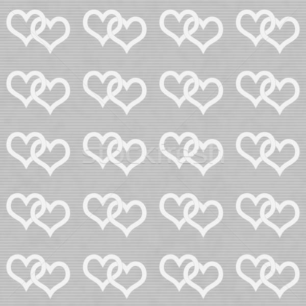 White Interwoven Hearts and Gray Thin Stripes Horizontal Texture Stock photo © karenr