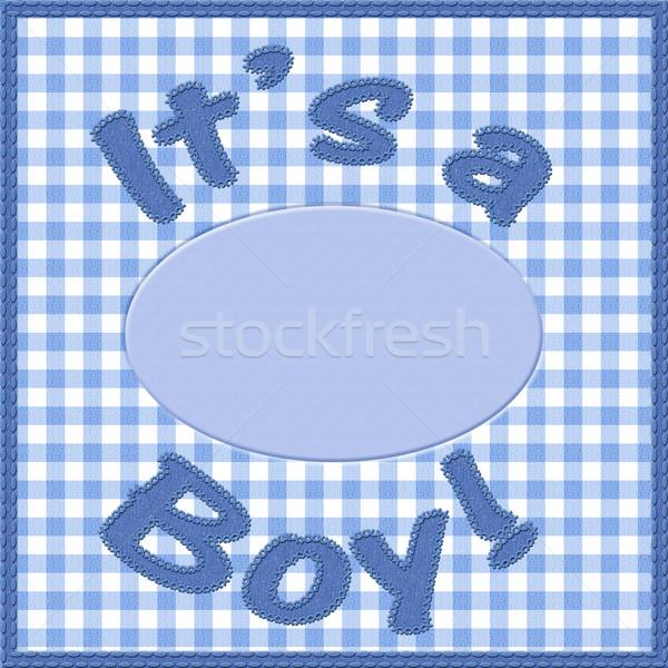 Nino bebé anuncio palabras azul material Foto stock © karenr