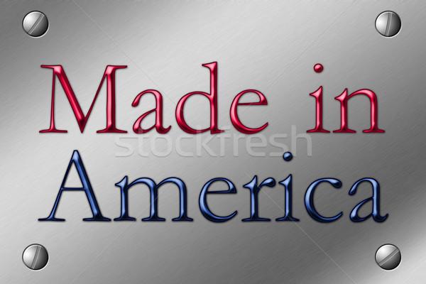 Amerika çelik plaka köşe sözler kırmızı Stok fotoğraf © karenr
