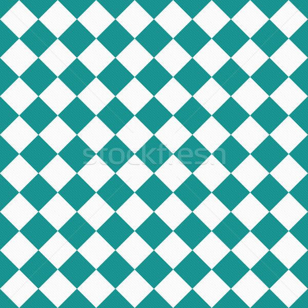 Dark Teal and White Diagonal Checkers on Textured Fabric Backgro Stock photo © karenr