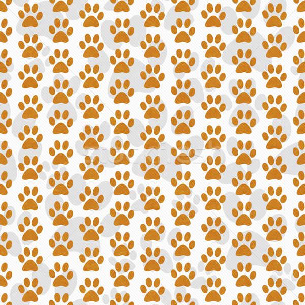 Orange and White Dog Paw Prints Tile Pattern Repeat Background Stock photo © karenr
