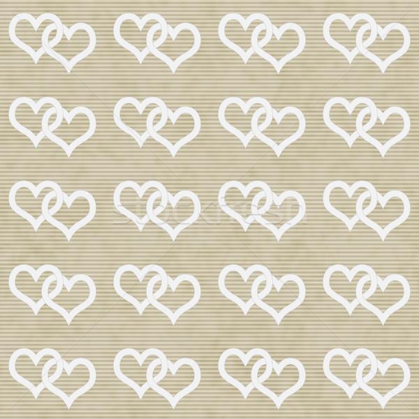 White Interwoven Hearts and Beige Thin Stripes Horizontal Textur Stock photo © karenr