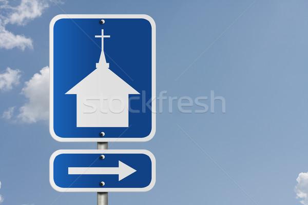Templom erre amerikai jelzőtábla égbolt szimbólum Stock fotó © karenr