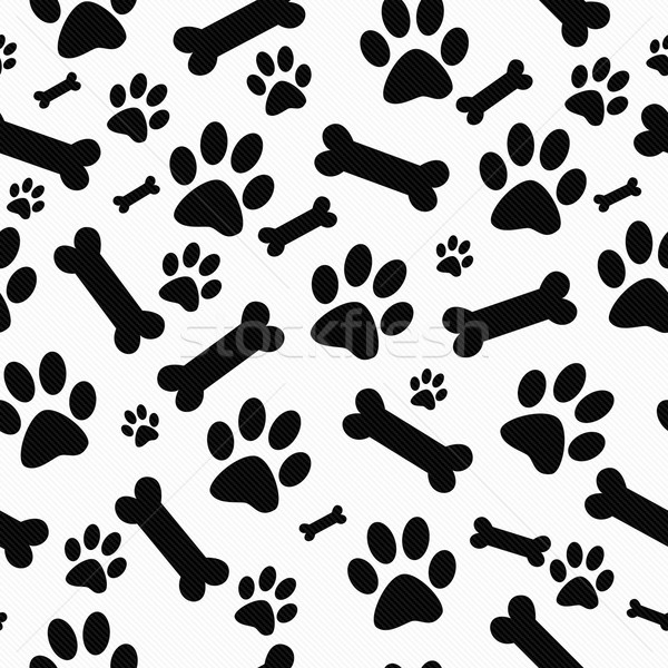 Black and White Dog Paw Prints and Bones Tile Pattern Repeat Bac Stock photo © karenr