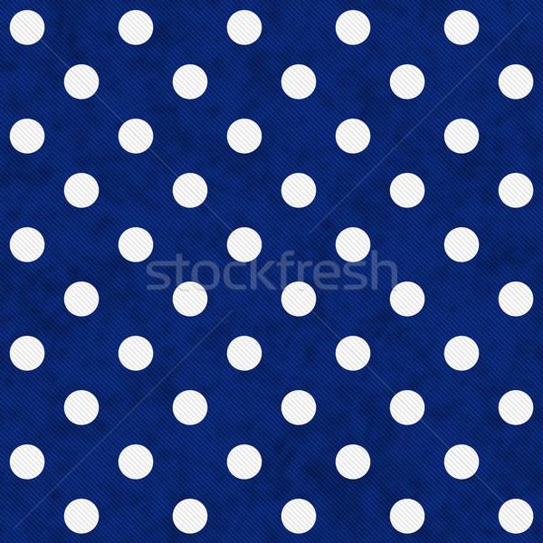 ストックフォト: 白 · 水玉模様 · 青 · ファブリック · シームレス