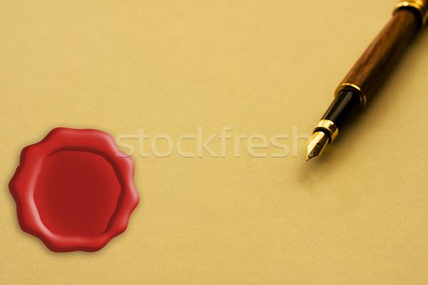 Imza yasal anlaşma sarı kâğıt Stok fotoğraf © karenr
