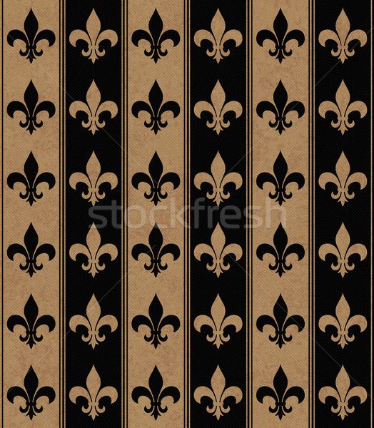 Black and Beige Fleur De Lis Textured Fabric Background Stock photo © karenr