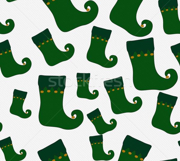 Groene goud christmas kous weefsel Stockfoto © karenr