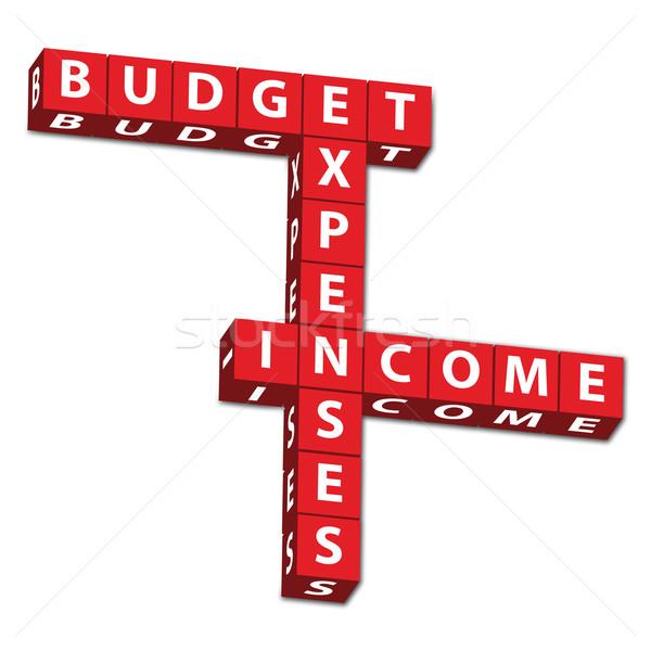 Költségvetést készít piros levelek szavak költségvetés kiadások Stock fotó © karenr